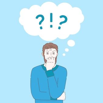 Homem assustado na ilustração dos desenhos animados de pânico. transtorno mental, conceito de aconselhamento psicológico.