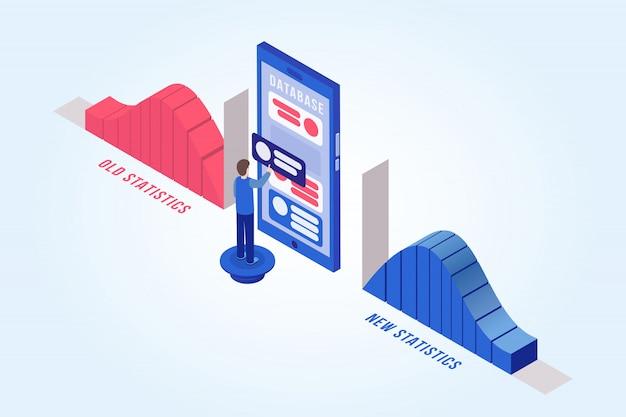 Homem, atualizando, banco dados, isometric, ilustração