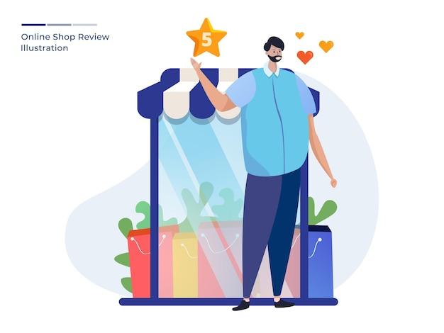 Homem avaliou 5 estrelas em uma loja online