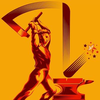 Homem, balançando, um, trenó, martelo, ligado, ferro, bigorna