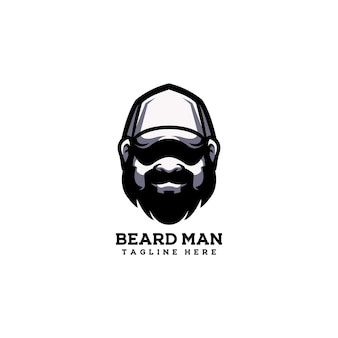 Homem barba cara bonito chapéu adulto barbeiro cabeça feliz