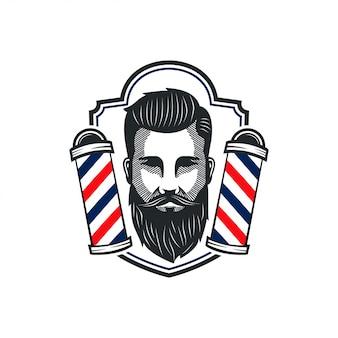 Homem barbeiro mascote corte barbearia