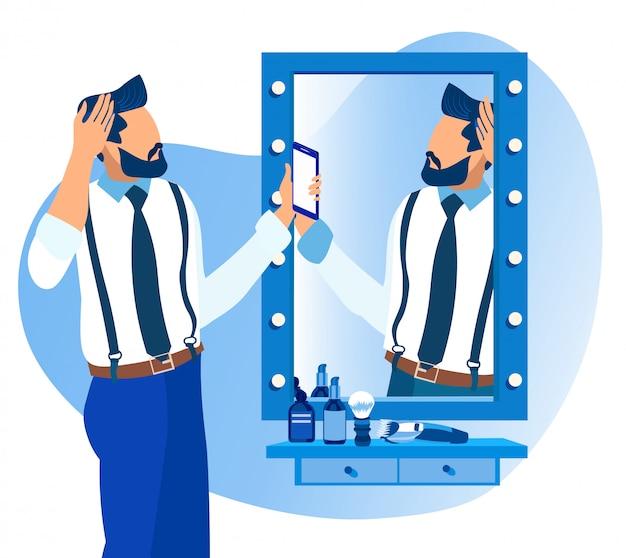 Homem barbudo assistindo no espelho na barbearia.