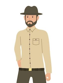 Homem barbudo atraente com um chapéu. homem ou guarda-florestal ocidental. personagem em estilo simples.