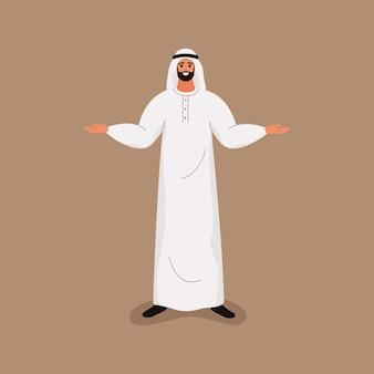Homem barbudo bonito árabe em roupas brancas tradicionais, em pé com os braços abertos.