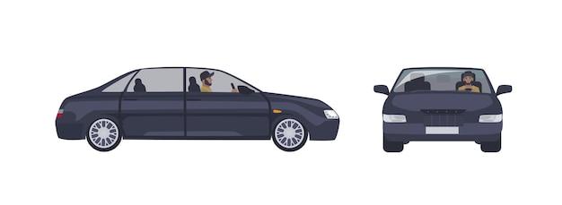 Homem barbudo caucasiano com boné, dirigindo carro sedan preto isolado no branco