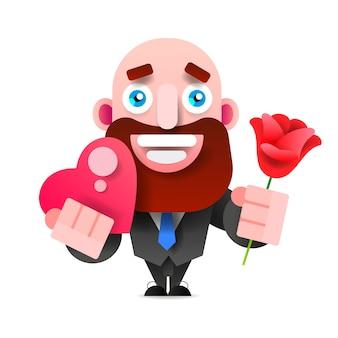 Homem barbudo com caixa de rosa e chocolate