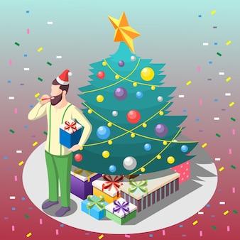 Homem barbudo com presentes perto da composição isométrica da árvore de natal em fundo gradiente com confete