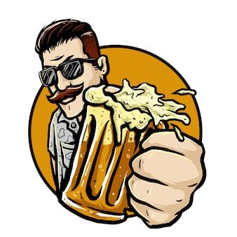 Homem barbudo com um copo de distintivo de vetor de cerveja raiz