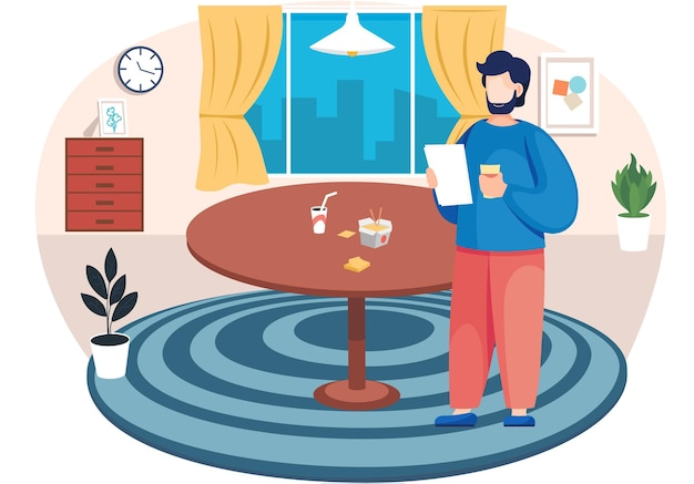 Homem barbudo com uma folha de papel em pé na sala