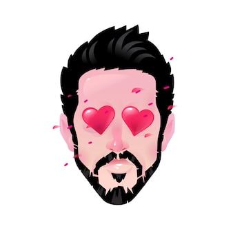 Homem barbudo dos desenhos animados, ilustração do amante, olhos em forma de coração.