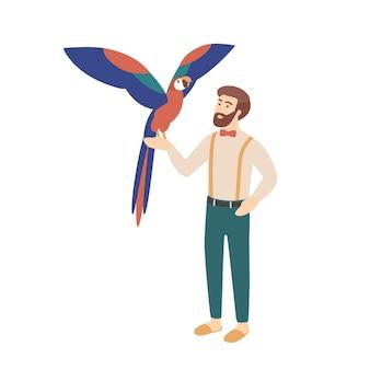Homem barbudo elegante segurando o papagaio. personagem masculino e seu pássaro ou ave inteligente