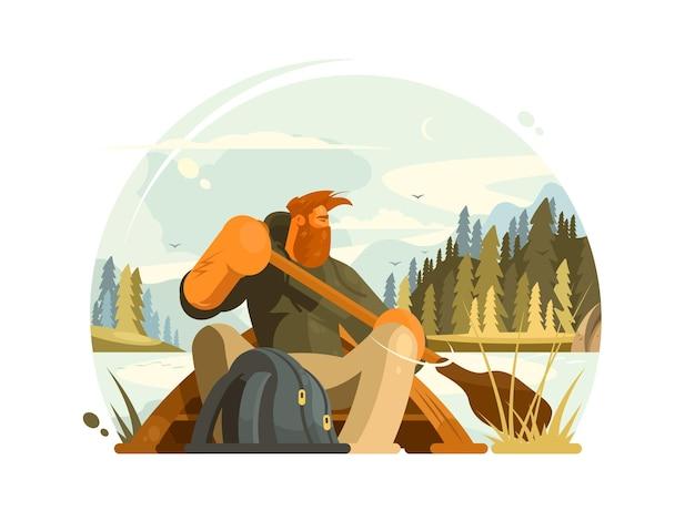 Homem barbudo em ilustração de canoa