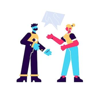 Homem barbudo falando com a mulher com ilustração plana de bolhas do discurso. casal zangado discutindo um ao outro, isolado no fundo branco. mulher irritante e homem conversando