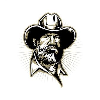 Homem barbudo mão ilustrações desenhadas para design de logotipo