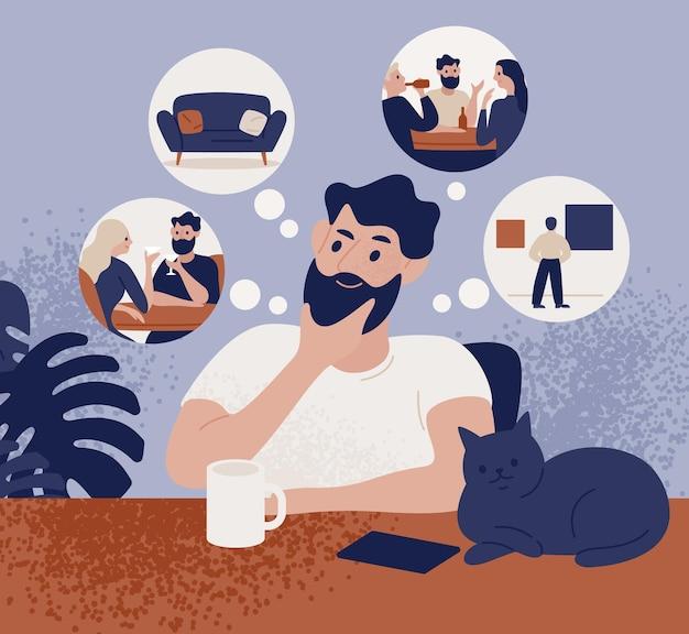 Homem barbudo pensativo sentado à mesa e pensando em atividades de lazer ou recreativas para escolher