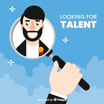 Homem barbudo procurando fundo de talentos