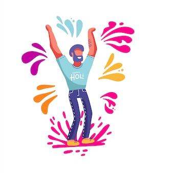 Homem barbudo se divertindo jogando salpicos coloridos no festival primavera de holi. modelo para cartaz de convite. ilustração em estilo cartoon plana