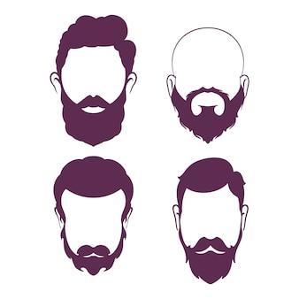 Homem barbudo. silhueta de uma barba para barbearia. ilustração vetorial