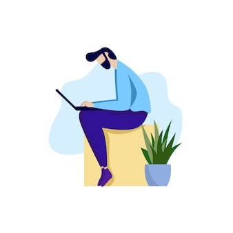Homem barbudo trabalhando laptop cartoon