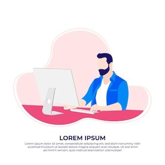 Homem barbudo usando computador e trabalhando em casa