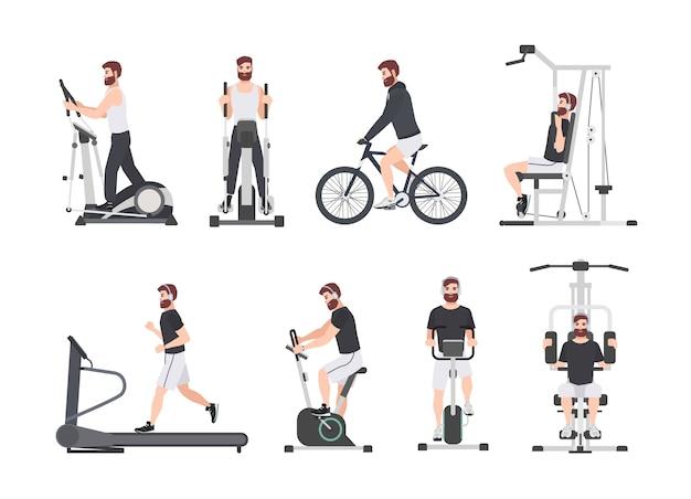 Homem barbudo vestido com roupas esportivas, fazendo treinamento físico em máquinas de exercícios na academia