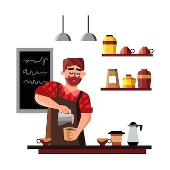 Homem barista fazendo uma xícara de café com bebida quente
