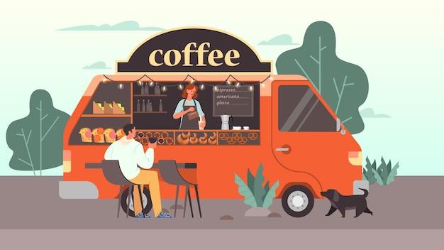 Homem bebe café na faixa de cafeteria móvel. caminhão de comida de rua moderno, barista tomando um cappuccino. ilustração
