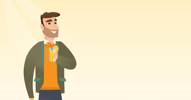 Homem, bebendo, coquetel