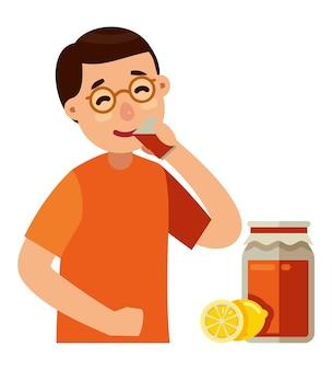 Homem, bebendo, kombucha, vetorial, ilustração