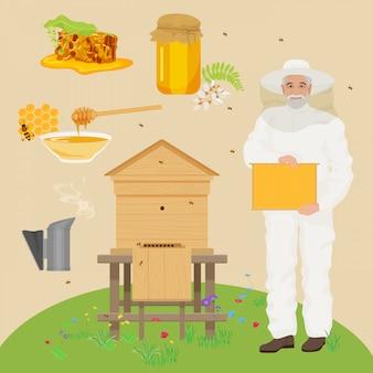 Homem, beekeer, com, abelha, casa, ícones