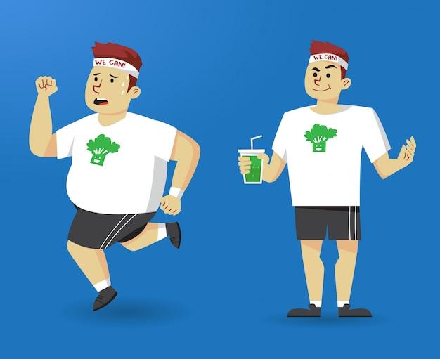 Homem bem sucedido de transformação de dieta