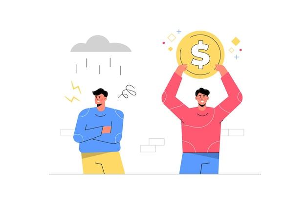 Homem bem sucedido segurando dinheiro ao lado do homem malsucedido com tempestade de chuva.