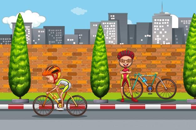 Homem, bicicleta equitação, em, cidade
