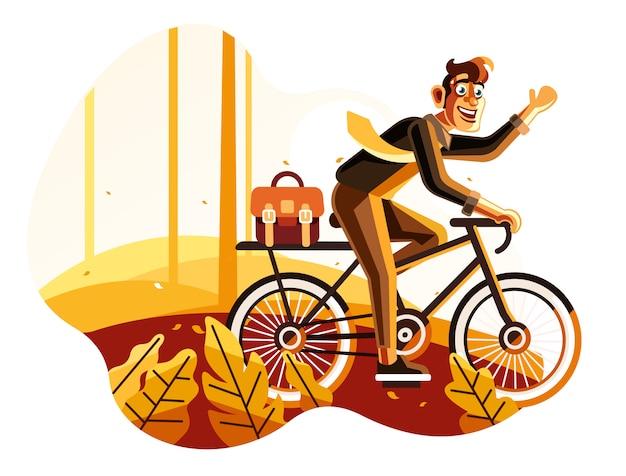 Homem, bicicleta equitação, trabalhar, ilustração