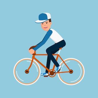 Homem, bicicleta equitação