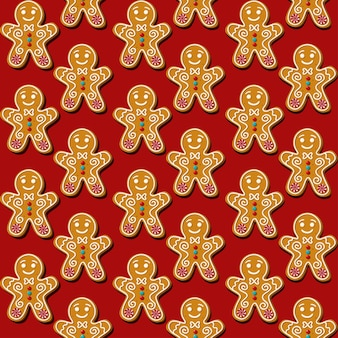 Homem-biscoito de biscoito de natal sem costura. padrão, fundo vermelho.