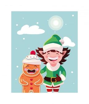 Homem-biscoito e elfo com chapéu na paisagem de inverno