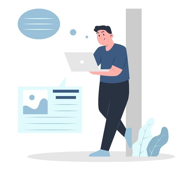 Homem blogando com laptop segurando