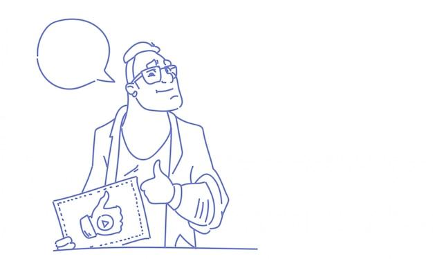 Homem blogger de vídeo popular como o polegar para cima gesto esboço doodle