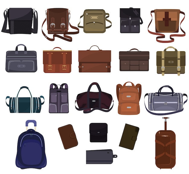 Homem bolsa vector moda masculina bolsa ou maleta de negócios e couro notecase ou carteira