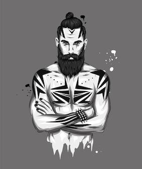 Homem bonito, com barba, tatuagem e penteado elegante.
