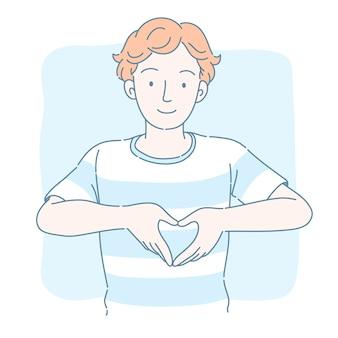 Homem bonito com cabelo encaracolado fazendo um gesto com a mão em formato de coração, estilo linha fina