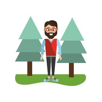 Homem bonito com roupas casuais e pinheiros