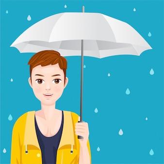 Homem bonito com uma capa de chuva amarela