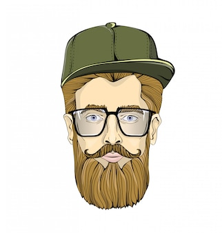 Homem bonito de óculos, com barba e bigode, usando boné verde sobre fundo branco. hipster encara você. imagem gráfica principal. ilustração.