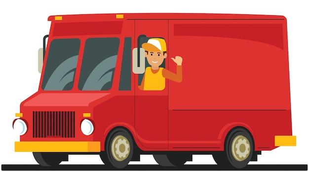 Homem bonito dirigindo um caminhão