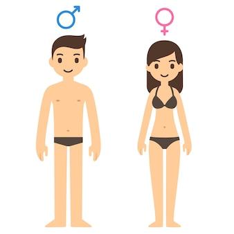 Homem bonito dos desenhos animados e mulher em roupa interior com símbolos masculinos e femininos acima.