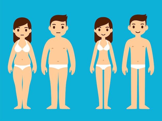 Homem bonito dos desenhos animados e mulher em roupa interior, excesso de peso e magro. ilustração de perda de peso.
