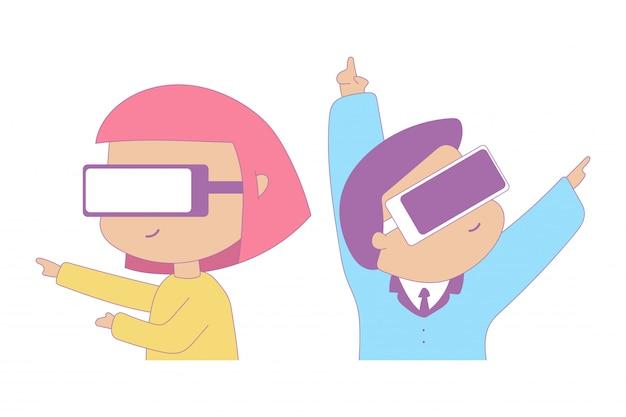 Homem bonito e menina em personagens de desenhos animados de óculos de realidade virtual isolados em um fundo branco.